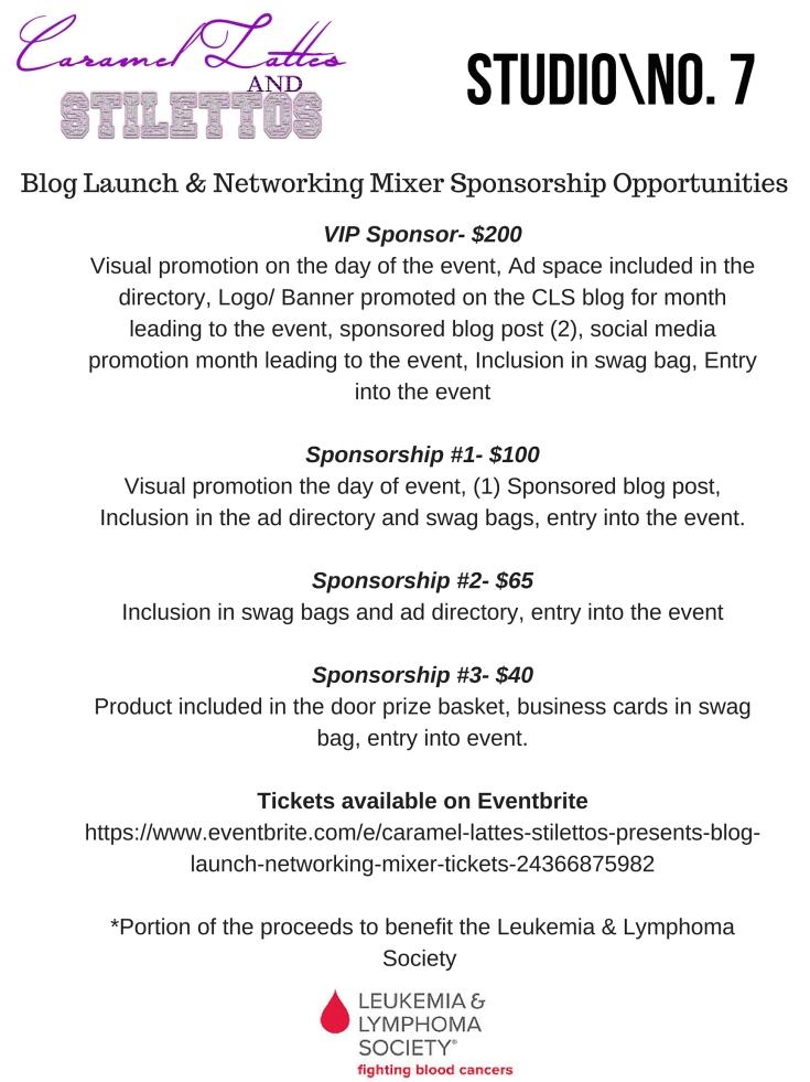 Blog Launch & Networking Mixer Sponsorship Opportunities